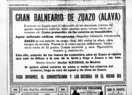 Anuncio del Balneario de Zuazo en 1931
